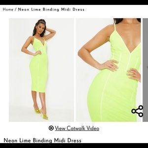Neon Lime Binding Midi bodycon Dress